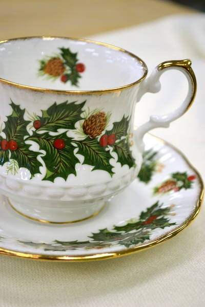 "Teacup/Saucer, Queens' Fine Bone China -""Yuletide"" Rosina China Co. England"