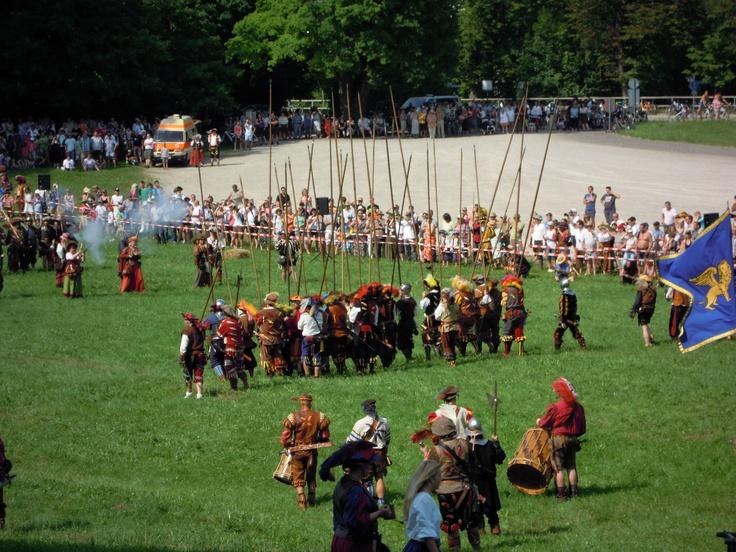 Medieval battle. Knight Georg of Frundsberg, patron of Mindelheim, is fighting against venezian enemys at Peutelstein by Cortina d'Ampezzo.