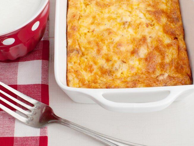 A 5-star recipe for Oven Scrambled Egg And Cheese Bake made with butter, salt, black pepper, mustard, eggs, milk