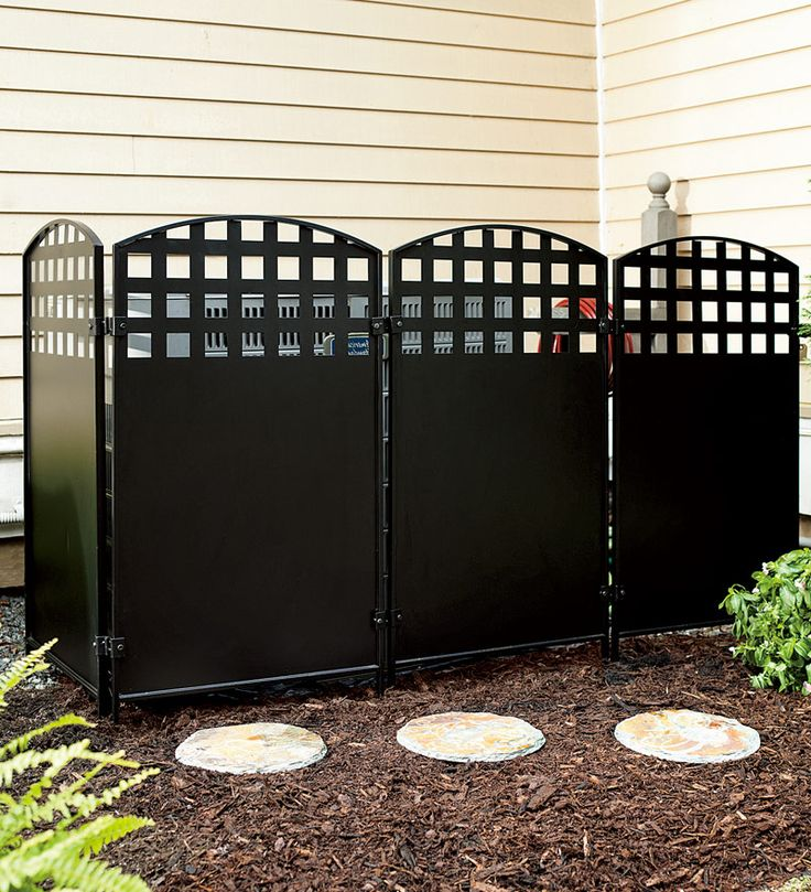 Black metal four panel privacy screen another great way for Outdoor privacy screen white