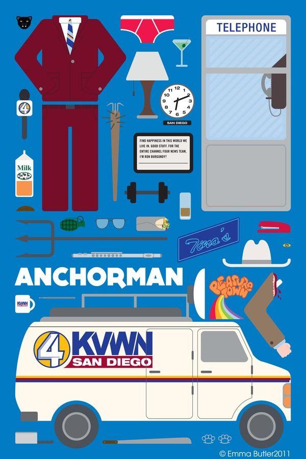 Anchorman: The Legend of Ron Burgundy [Adam McKay, 2004] «Movie Parts | Poster Series Author: Emma Butler»