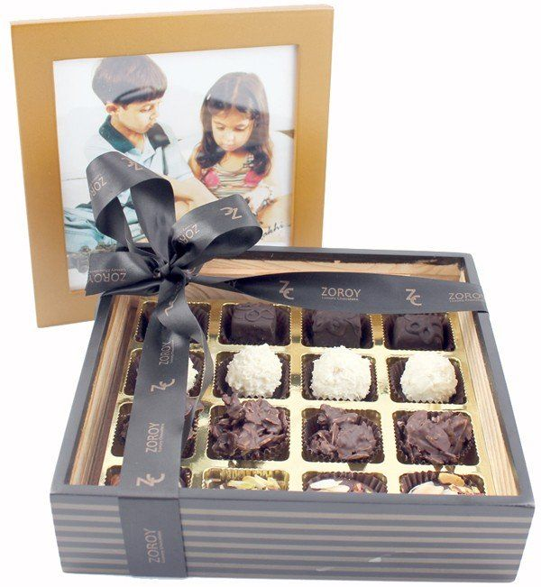 Personalised Photo Wooden Box for Rakhi with 16 Assorted Belgian chocolates