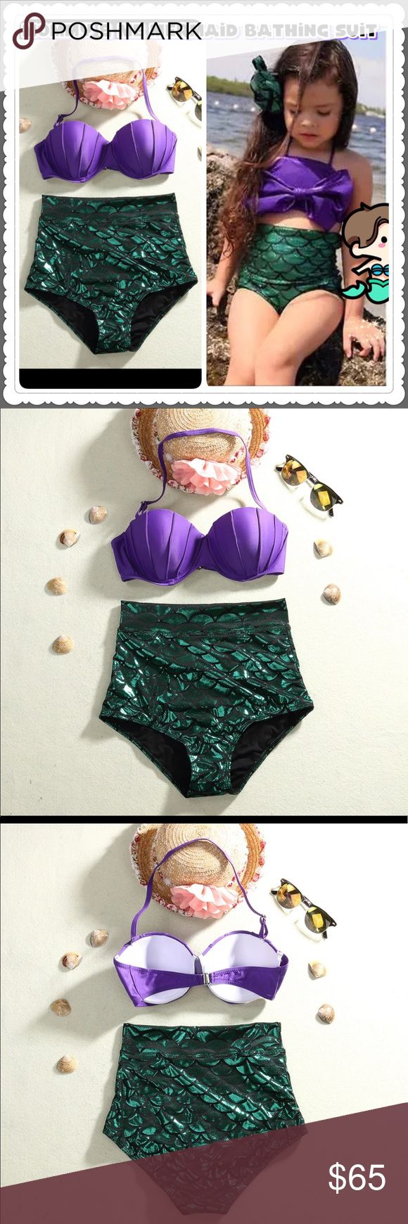 Mommy and me outfit mermaid bathing suit, bikini Mommy and me outfit matching color mermaid bathing suit. Mermaid bikini, mermaid swimsuit. BRAND NEW All size available for kids from 2T - age 14. Mommy bathing suit size S - L available. Limited stock !! This summer splash splash sparkle sparkle and fulfill your little girls mermaid princess dream together ! Swim Bikinis