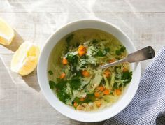 Lemon Coriander Soup / Bright, healthy and clean, this soup makes a perfect mid-day snack or light meal.