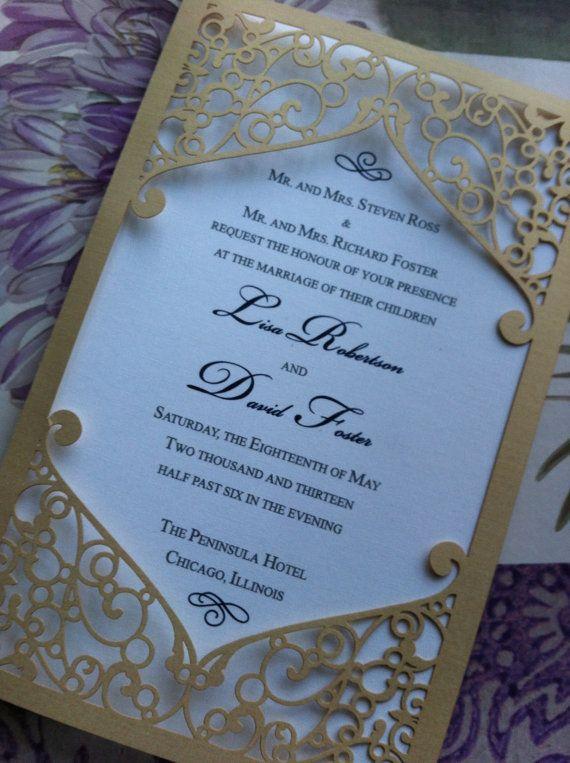 Frame Elegant Wedding Invitation Laser Cut By CelineDesigns, $6.99