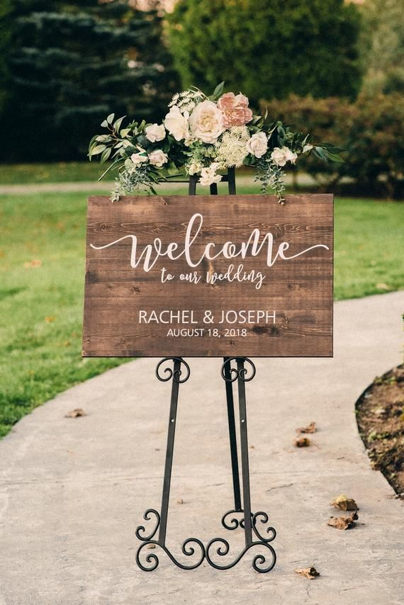 Personalized Wedding Sign Large Wood Sign Rustic Wedding Decor Wedding Easel Sign Welcome to our Wedding Welcome Wedding Sign