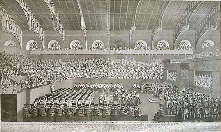 Remigius Parr after I. Freeman Copper engraving A large-scale engraving of the interior of Westminster hall with an impressive beamed ceiling and hundreds of peers and audience members assembled below.  The Royal throne is to the right, flanked by viewing boxes. The Lord High Steward sits at a central table with clerks recording the proceedings. The key figure of Lord Lovat leans over the front of the bench on the left, talking to a man who repeats his words to the rest of the court. <br…