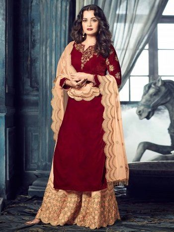 Dia Mirza Maroon Velvet Suit With Embroidery Work