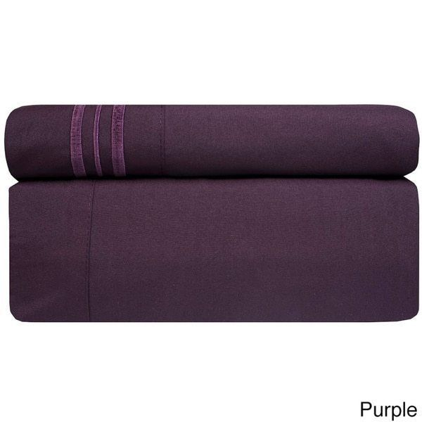 4 Piece Purple California King Bed Sheet Set Fitted Flat Pillowcases