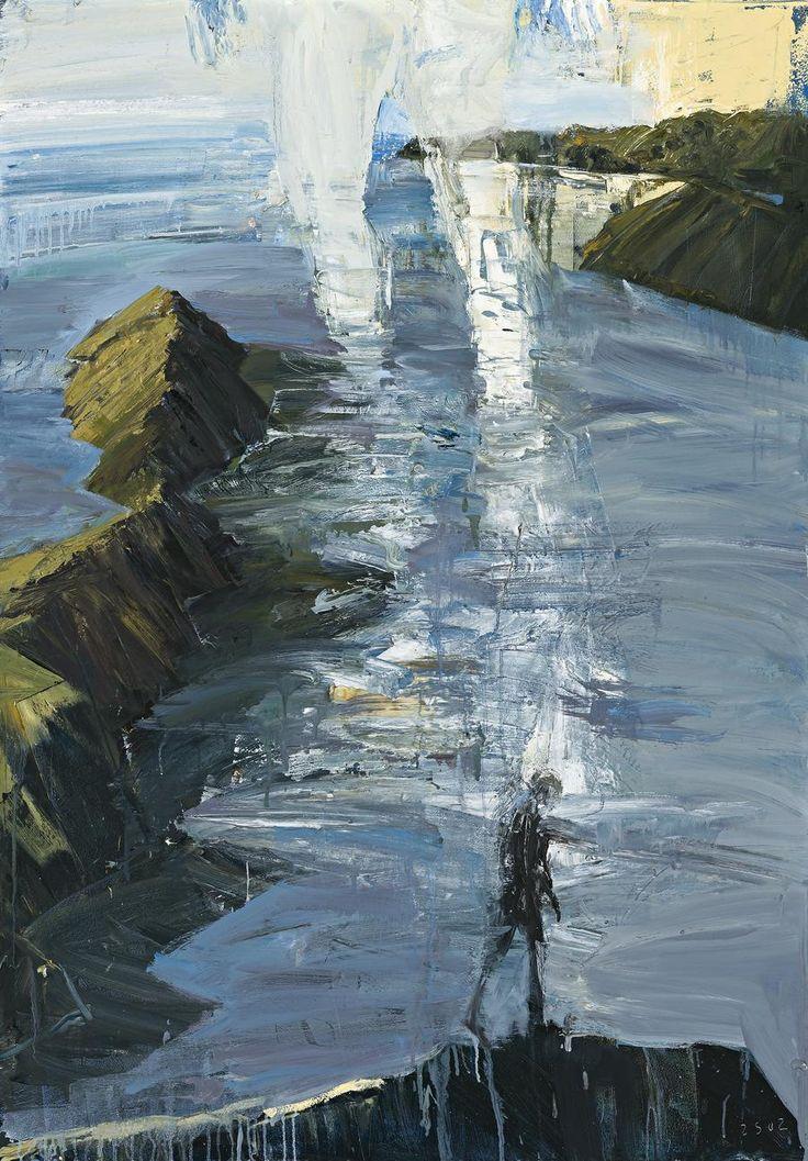EUAN MACLEOD FIGURE IN SEA ABOVE FIGURE ON HILL 2002