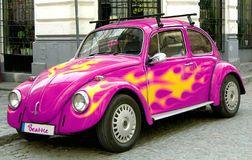 Pink beetle car Royalty Free Stock Photos
