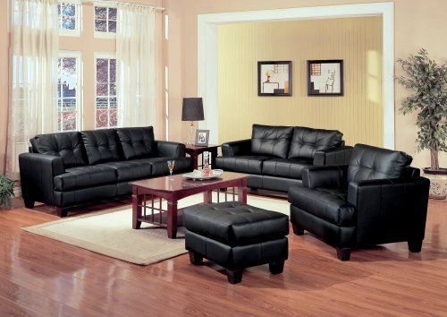 Leather Sofa Set - 4 Piece in Black Leather - Coaster by Coaster Home Furnishings. $1504.12. Samuel Collection. Black Leather Sofa Set. Contemporary Sofa Set. 4 Piece Sofa Set. Sofa Set. The Samuel collection offers style and comfort with its clean lines and attached seat cushions. The only way to truly appreciate this collection is to sit and experience it. The pieces are crafted of sophisticated bonded leather, over a solid hardwood frame with webbed backs and s...