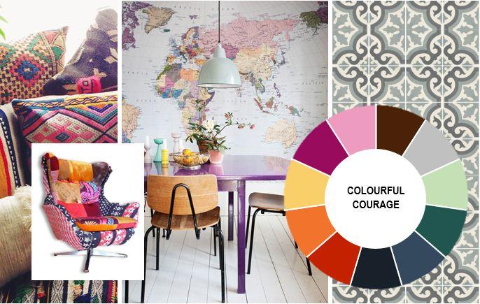 INTERIØR FRELST: september 2014 GLOBAL MIX – Colouful Courage Denne trenden er en hyllest til globalisering, hvor man virkelig kan leke seg med å kombinere farger og mønstre. Dette temaet handler om å vise mot og eksperimentere med forskjellig materialer, farger og mønstre. Her er rosa en veldig populær farge, som ikke bare funger på detaljer, men også på store flater.