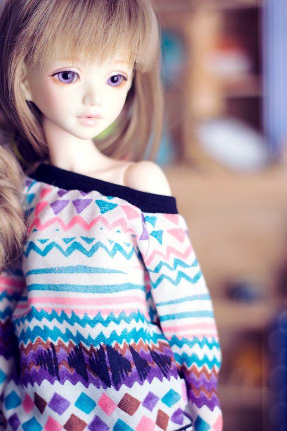 Handrawn Folk sweater for MSD size bjd dolls Unoa by sugardollshop
