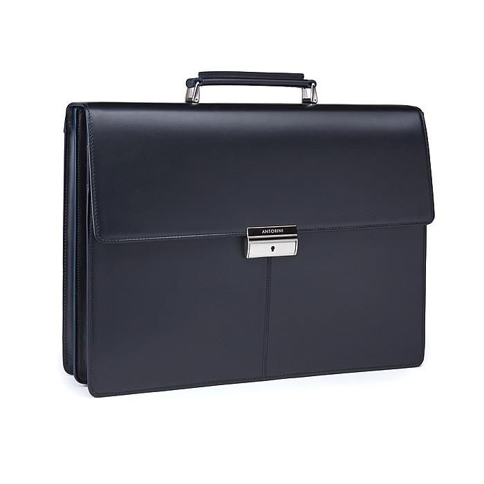 Executive Leather Briefcase, black / blue