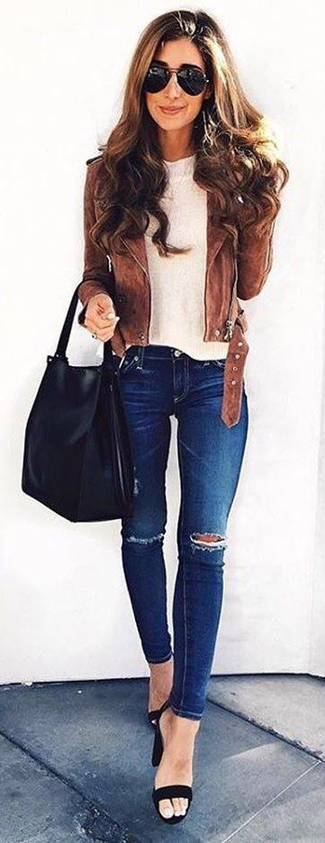 #winter #fashion / Brown Jacket / White Top / Skinny Destroyed Jeans / Black Sandals / Black Leather Tote Bag