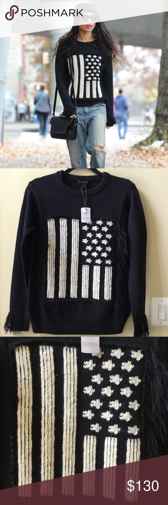 """NWT COACH FLAG INTARSIA BLACK SWEATER SIZE XS Nwt Coach Size XS Chest: 38"""" Armpit to armpit: 19"""" Length: 25"""" Flag Intarsia Black Sweater Pure merino wool in a chunky knit imbues this striking rendering of the stars and stripes with luxurious softness and exceptional warmth. Its monochrome motif is intarsia-knit by hand for clear, inlaid fields of contrast colour, then hand-appliquéd using Rip and Repair baseball-stitch details—our exclusive leather homage to the great American pastime…"""