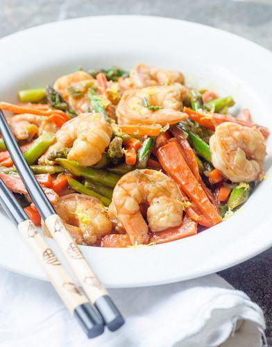 Shrimp and asparagus, Lemon sauce and Asparagus stir fry ...