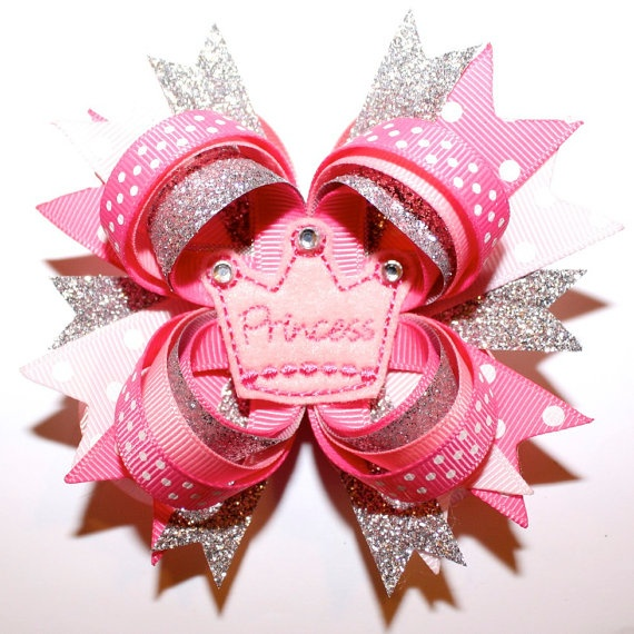"4"" Hot Pink Light Pink Glitter Princess Crown with Rhinestones Stacked Hair Bow"