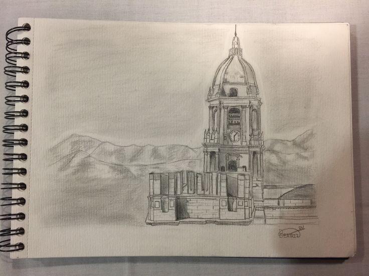 Dibujo a lápiz✏️ de la catedral de Málaga⛪️  para el periódico del sur