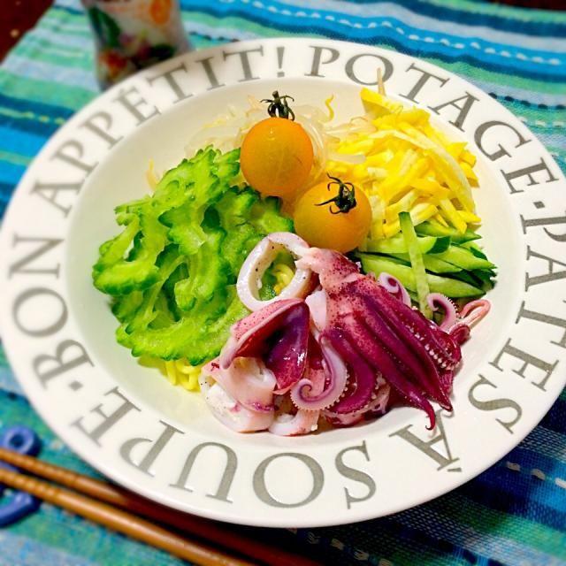月のうさぎ冷やし中華こんにゃく (*´ڡ`●) - 18件のもぐもぐ - こんにゃくサラダ麺 by ayu3cafe