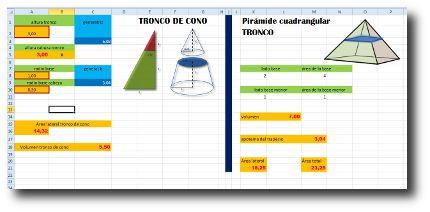 Hoja de cálculo para tronco de cono y tronco de pirámides regulares.