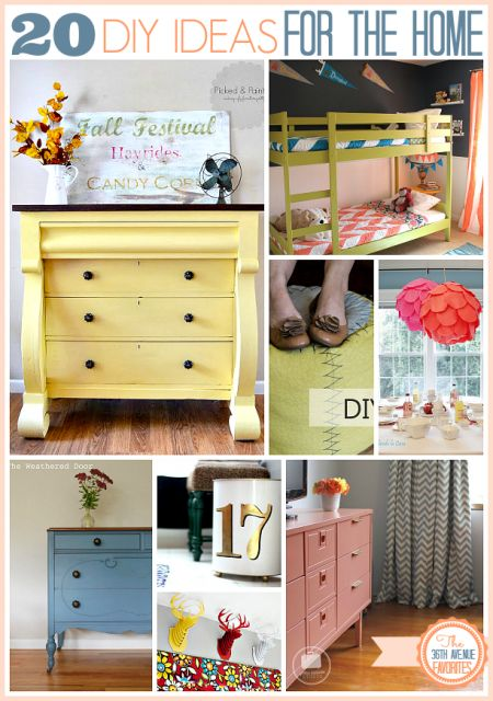 20 Gorgeous and Easy DIY Ideas for the Home ~  >Gorgeous Dresser Makeover >Kids Bedroom Makeover and Decor  >Gorgeous Trash Can Makeover  >DIY Chevron Platter  >Dining Room Decor  & MORE!  Project Links @: http://www.the36thavenue.com/2013/10/20-diy-home-projects.html?utm_source=feedburner&utm_medium=email&utm_campaign=Feed%3A+The36thAvenue+%28The+36th+Avenue.%29
