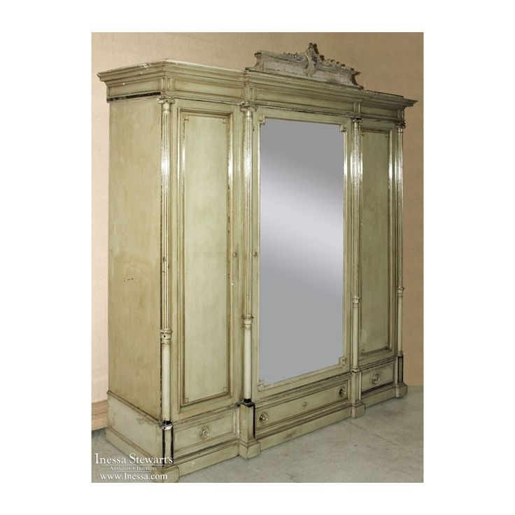 Antique French Louis XVI Painted Triple Armoire features stunning elegance combined with exquisite patina in a classical style! Circa 1890s. Measures 90 x 86 x 22.