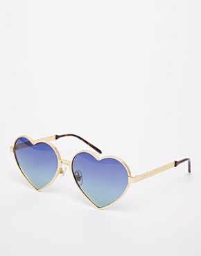 Wildfox Lolita Heart Shaped Novelty Sunglasses - Gold/multi gradient