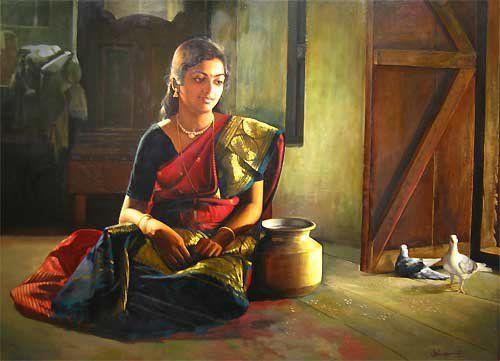 25 Beautiful Rural Indian Women Paintings by Tamilnadu artist ilayaraja. Read full article: http://webneel.com/webneel/work/paintings-rural-indian-women-oil-painting-14 | more http://webneel.com/paintings | Follow us www.pinterest.com/webneel