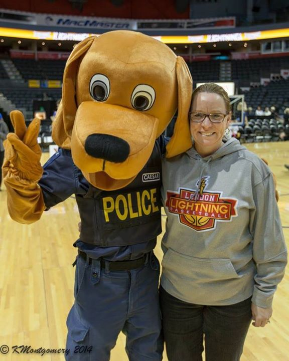 Hanging with Caesar the London Police Dog at the Police vs. Fire Basketball Game in January 2014!