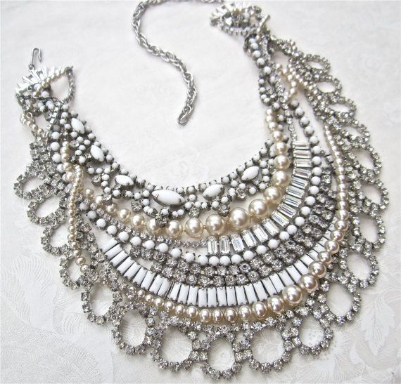 White Bridal Statement Necklace Wedding Jewelry by AllThingsTinsel