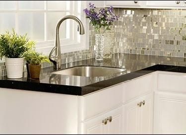 Black Star Recycled Glass Countertop U0026 Liberty Diamond Glass Mosaic Tile  Backsplash By Granite Transformations