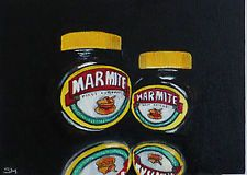Contempoary original still life oil painting daily S Mortimer Marmite Date Night