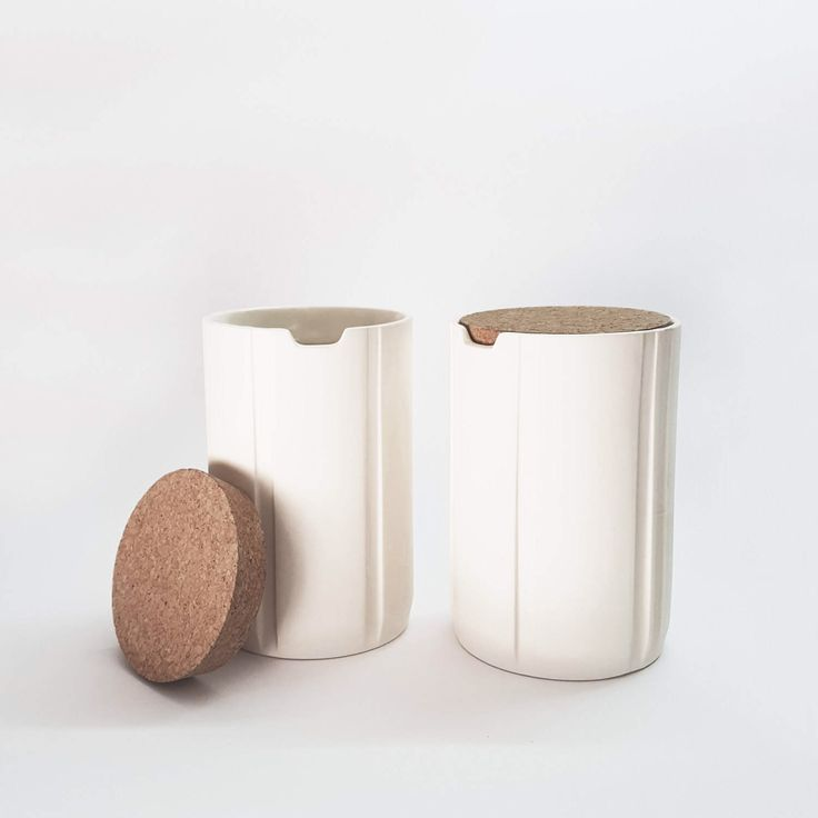 2X ceramic canisters with cork lid, ceramic spice jars, kitchen storage, coffee sugar jars, Scandinavian modern decor, Table centerpiece by Yahalomis on Etsy https://www.etsy.com/listing/519398083/2x-ceramic-canisters-with-cork-lid