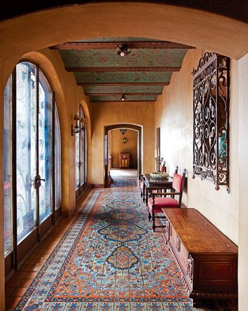 cool idea. tiles instead of a rug. looks like a rug, but more rustic