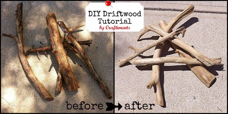 DIY faux look driftwood using sodium carbonate from regular tree branches  ....brilliant