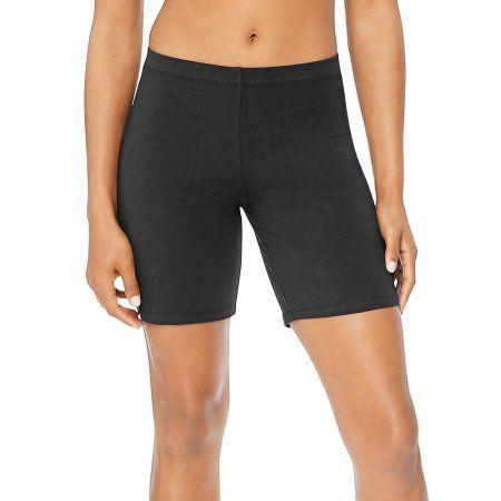 Hanes Women's Stretch Jersey Bike Short, Size: Large, Black