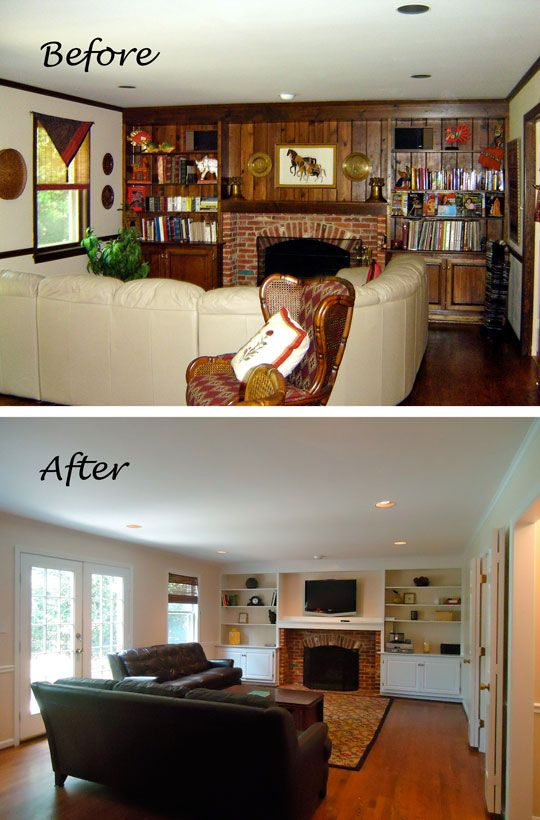 The after looks great. Love the cabinetry around the fireplace. Also the white French doors