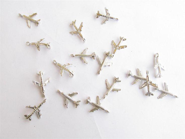 Silver tone metallic airplanes 16mm (20 pcs) metal airplanes