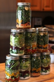 Made 6 of these on sunday, for taking lunch to work. I'm on jar 4, and everything is still crisp and super delish. Mason jar salad recipes.