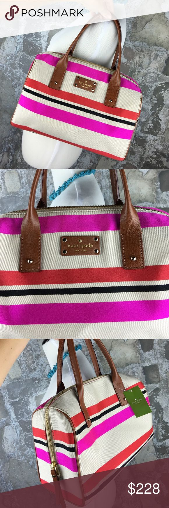 FINAL PRICE ❤️kate spade pink stripe purse Brand new with $328 tags! Authentic. Beautiful pink and red and black striped purse. Gorgeous brown leather detailing. A perfect everyday purse that you'll never want to let go! kate spade Bags