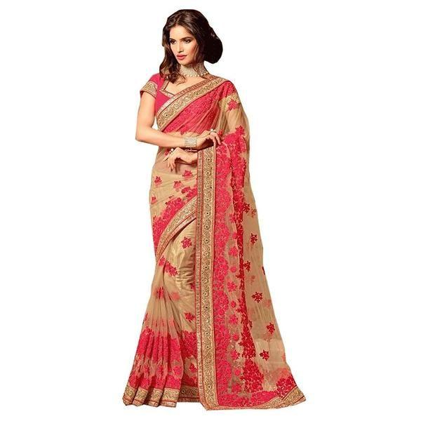 Beige & Red Net Heavy Designer Partywear Saree Net Georgette Saree https://ladyindia.com/collections/net-sarees/products/beige-red-net-heavy-designer-partywear-saree-net-georgette-saree #saree #netsaree #partywear #georgettesaree