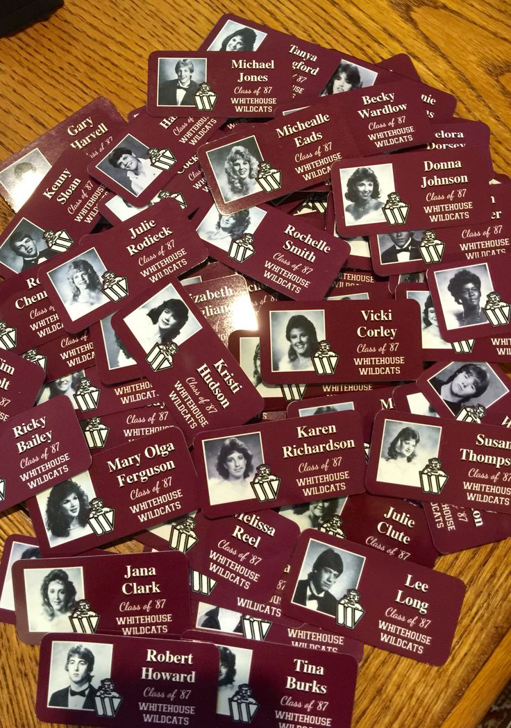 Keepsake thin metal name tag pins using yearbook photos, school colors and your school logo. Fantastic quality, great Etsy shop owner who works with your Scanned yearbook photos via Dropbox. Price is great and reunion friendly also. Don't just use Sharpie name tags!