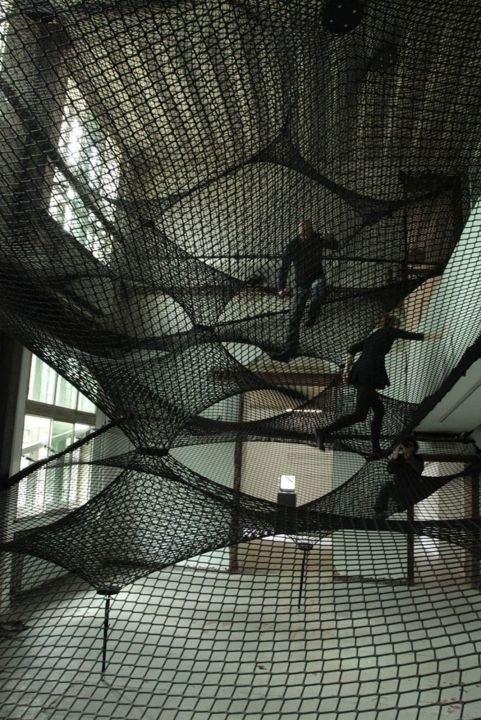 The three artists forming Numen/For Use create transparent landscapes and ephemeral architecture, such as Net, to connect people to one another while redefining space. Photo: Z33 House for Contemporary Art.