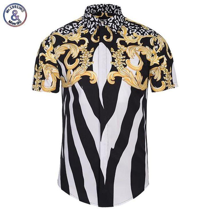 Mr.1991INC Summer Shirts Men Tops 3d Shirts Print Palace Golden Flowers Striped Zebra Fashion Brand Shirts