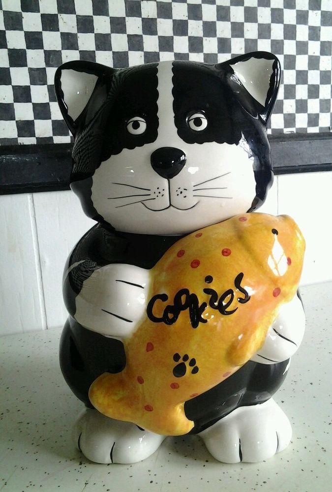 "Tuxedo Cat Cookie Jar Ceramic CKRO Black & White Kitty Holding Goldfish 10"""