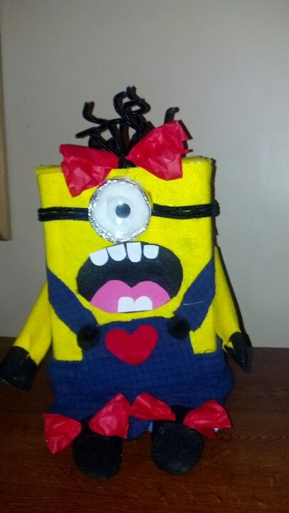 """My daughter's """"Girl"""" Minion Valentine Box...I tell you what my Kayla is one in a """"minion"""". ;)"""