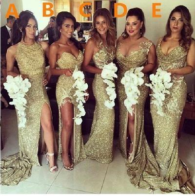 Gold Sequin bridesmaid dresses, Mermaid bridesmaid dresses, long bridesmaid dresses, mismatched bridesmaid dresses, sexy bridesmaid dresses, 17074