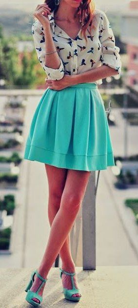 #spring #outfits White Printed Shirt + Mint Skirt + Mint Pumps
